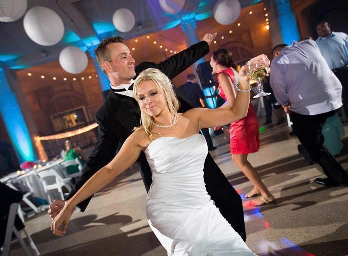 A bride and groom's first dance. The most important part of wedding entertainment is making the star couple happy.